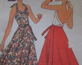 Vintagte - 1976 Simplicity 7545 - Halter Top with Peplum  - Back Wrap Skirt - Size 8-10 - Bust 31 1/2 - 32 1/2 - Uncut Pattern
