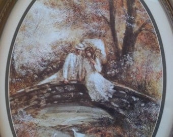 Sale - Vintage - Homco Prod. Inc. Print - Couple Dressed in White Sitting on a Bridge - Faux Wood