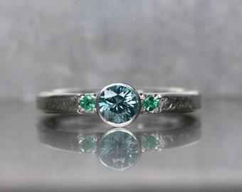 Blue Zircon Emerald Engagement Ring Silver Mermaid Ocean Colored Genuine Gemstones Underwater Fairy Tale Women's Bridal Band - Meerjungfrau