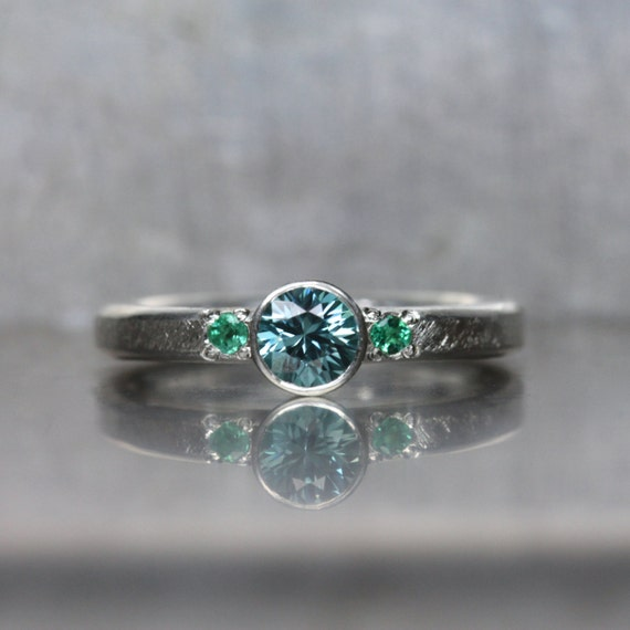 blue zircon emerald engagement ring silver mermaid
