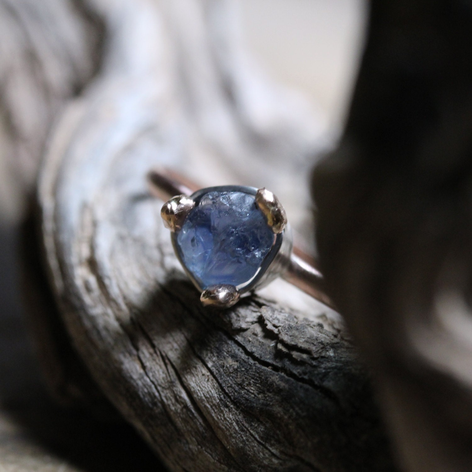 Raw Blue Sapphire Engagement Ring Rose Gold By