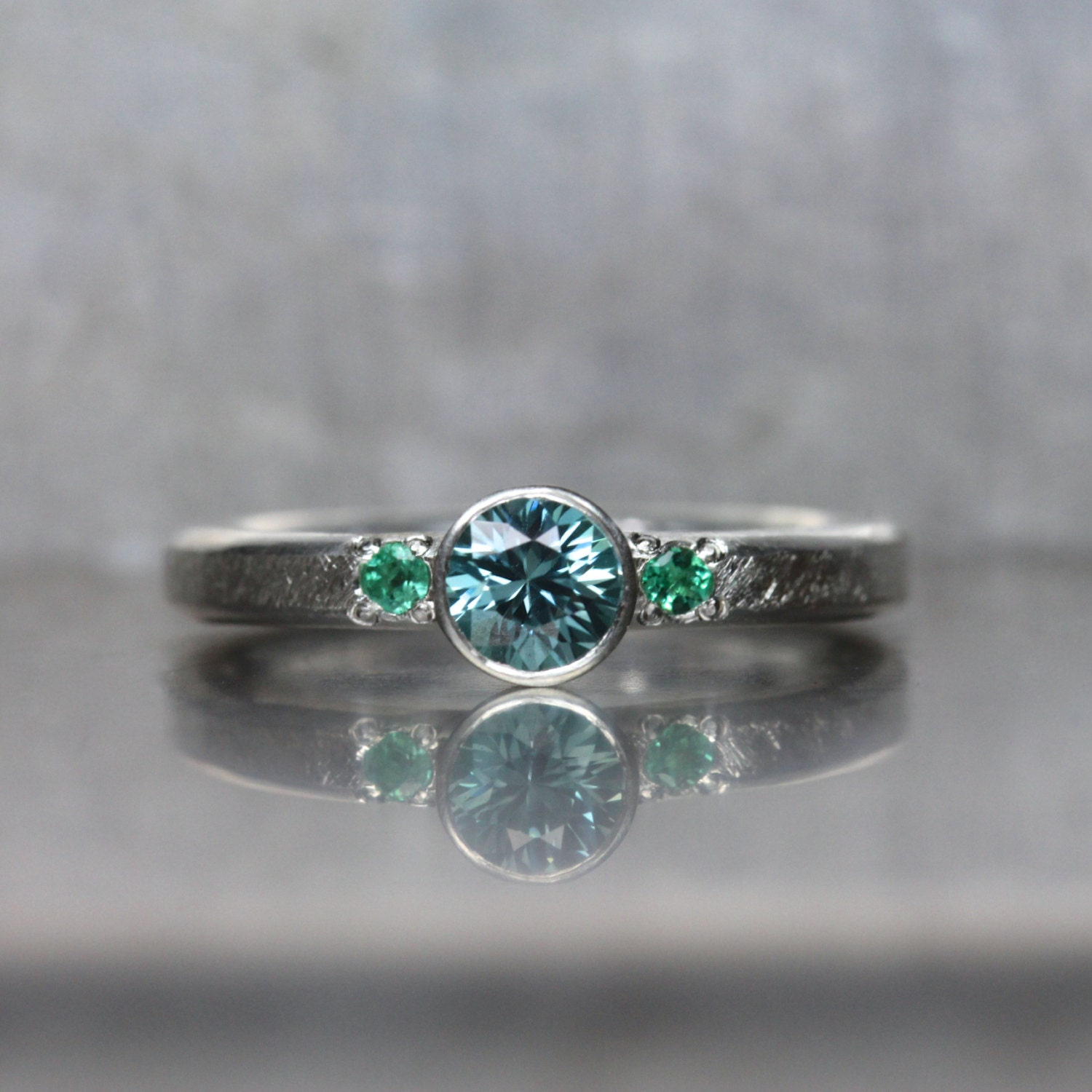 blue zircon emerald engagement ring silver mermaid ocean. Black Bedroom Furniture Sets. Home Design Ideas