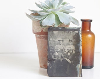 Tintype: Portrait of Couples, Antique Courting Photograph, Victorian