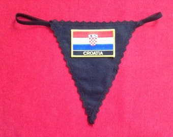 Womens CROATIA G-String Thong  Soccer World Cup Lingerie  Country Panty  Flag Underwear