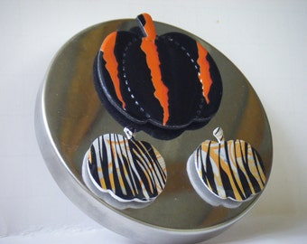 Pumpkin Magnet, Halloween Magnet, Set of 3, Recycled Can