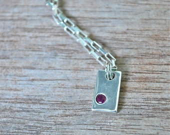 Recycled Sterling Silver Flush Set Ruby Gemstone Necklace