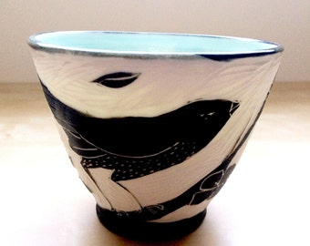 Hand Carved Translucent Porcelain Bowl with Black Bird