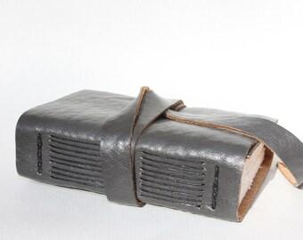 Faux Leather Journal or Sketchbook - Vegan Notebook or Travel Journal - Blank Book - Slate Smoke Gray - Handmade