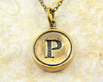 Letter P Necklace - Bronze Initial Typewriter Key Charm Necklace - Gwen Delicious Jewelry Design GDJ