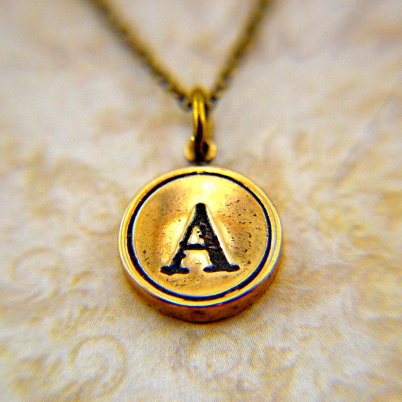 Letter A  Necklace- Bronze Initial Typewriter Key Charm Necklace - Gwen Delicious Jewelry Design