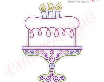 Curly Birthday Cake with Candles Outline - Instant  Download Machine embroidery design