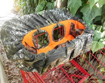MOSSY OAK CAMO or Real Tree Camo and Orange Seat Shopping Cart Cover and High Chair Cover - For Boy or Girl - Other Seat Colors Available