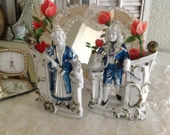 Antique Victorian Bisque Planter Set Lady Man Blue Gold Paint Antoinette Home Decor Germany