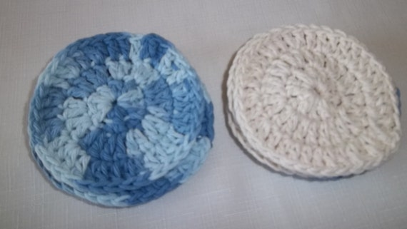 100% Cotton Facial Scrubbies, blue variegated and cream, eight pack, facial pads, rounds, reuseable cotton pads, makeup removers,