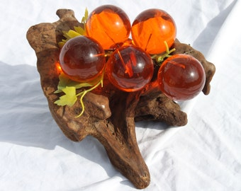 Vintage Danish Modern Orange Lucite Grapes with Driftwood Base