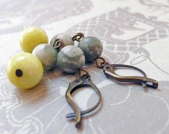 Peace Stone and Lemon Jade Earrings Hand Wrapped on Brass