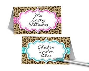 12 Tent Style Place Cards, Buffet Food Label Cards, Baby or Bridal Shower, Bachelorette Party, Birthday, Pink, Blue, Cheetah Print