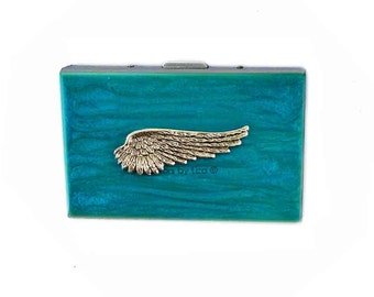 Metal Accordion Wallet with Organizer Angel Wing Inlaid in Hand Painted Turquoise Enamel Credit Card Case with Personalized Options