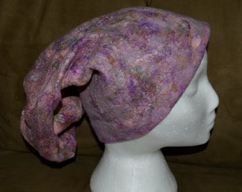 Wet felted merino wool and silk mawata, hand made and dyed one of a kind stocking cap, violet, rose pink, purple, green