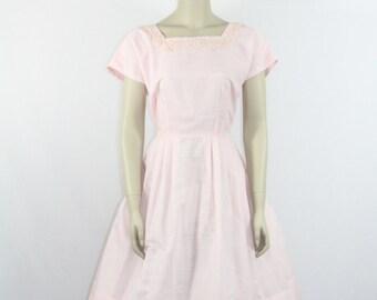 1950s Vintage Dress -  Light Pink Cotton Spring Dress  - 40 / 30 / full