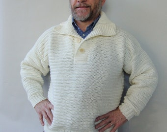 Men's Sweater, Wool Sweater, Winter Sweater, White Sweater, Men's Wool Sweater, Optional Funnel Neck, Available in S/M, L, and Xl