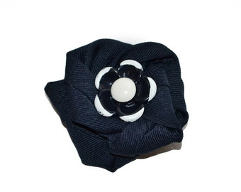 Scarf Pin, lapel pin, hat pin, fabric flower pin, navy blue flower brooch, fiber art brooch, OOAK