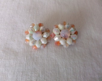 Vintage Earrings Clip On Round Iridescent Bead White Peach Western Germany Stamped Retro Costume Jewelry Clips