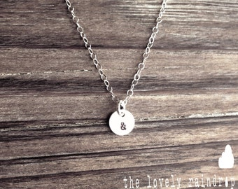 "SALE - Tiny Customized Sterling Silver Necklace - Hand Stamped Initial 1/4"" disc - Personalized - Customized The Lovely Raindrop"