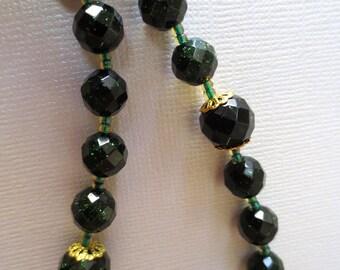 Catholic Rosary in Green Goldstone, Dark Green Rosary wtih Scapular Center