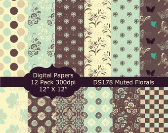 Buy 2 GET 1 FREE - Instant Download - Floral Flowers Muted Colors Digital Paper pack Scrapbooking, Card Making, Invites, Backgrounds DS178
