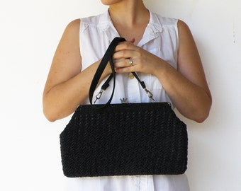 Vintage Crochet Bag / 1950s Large Black Purse