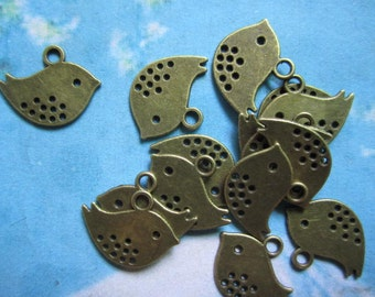 50pcs antiqued bronze bird charms  findings