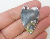 4 Heart pendants antique silver tone H3