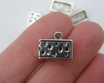 6 Cheese wedge charms antique silver tone FD122