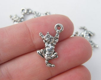8 Cat charms mm antique silver tone CT30