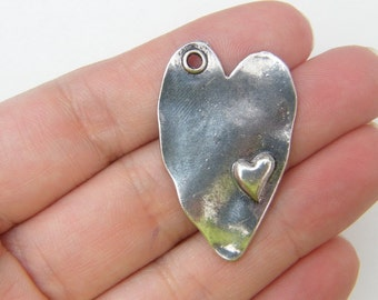 4 Heart pendants antique silver tone H3