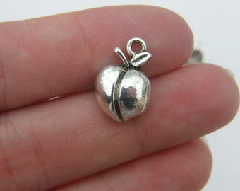 8 Peach charms antique silver tone FD207