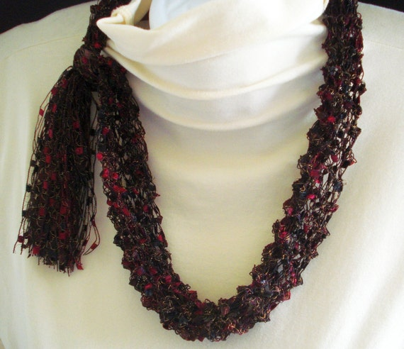 Fashion Necklace Scarf, Knit of Airy Ladder Type Yarn in Black, Wine and Gold