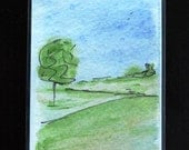 ACEO ~ Lone Tree ~ Doodleland - watercolor - free shipping