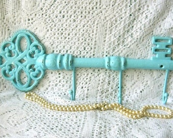 Extra Large Wall Hook-Shabby Chic Rustic Robins Egg Blue Cast Iron Metal  Key Hook/Hanger/ Jewelry Holder/Towel Holder