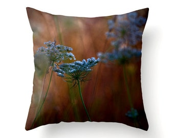 Decorative Throw Pillow Queen Anne's Lace - autumn trends september trends - home decor blue tangerine orange