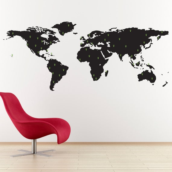 World map decal with 50 marking pins geography wall art like this item gumiabroncs