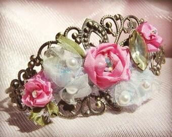 Secret Garden- silk ribbon work rose bracelet