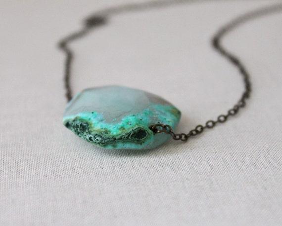 Agate Necklace Green Agate Brass Boho Jewelry Natural Jewelry Last One, Sea Algae