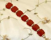 Vintage Lucite Bracelet Red Silver Bracelet 1960s