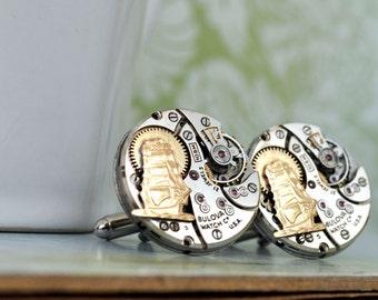 steampunk cufflinks JOURNEY Till END Of TIME vintage Bulova 21 jeweled watch movement cuff links