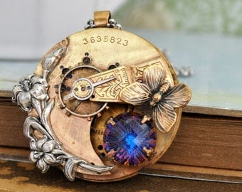 steampunk necklace, statement piece, LOVE TAKES TIME antique pocket watch movement necklace with Iris and vintage fire ball glass cab