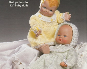 Download - DOLL KNITTING PATTERN for 12 inch baby dolls - Dress, Leggings, Bonnet and Bootees