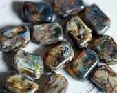 Picasso Czech Glass Beads - Travertine Swish Beads - Olive Green - Bead Soup Beads