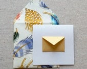 Tiny Envelope Gift Enclosure Cards - Golden Feathers